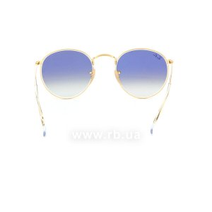 Очки Ray-Ban Round Metal Flat Lenses RB3447N-001-3F Arista | Gradient Light Blue, вид сзади