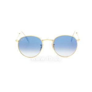Очки Ray-Ban Round Metal Flat Lenses RB3447N-001-3F Arista | Gradient Light Blue, вид спереди