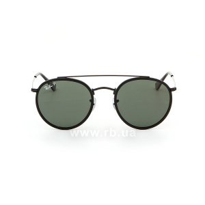 Очки Ray-Ban Round Double Bridge RB3647N-002-58 Black/Natural Green Polarized, вид спереди