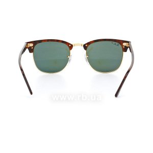 Очки Ray-Ban Clubmaster RB3016-990-58 Havana/Arista | Polarized Natural Green, вид сзади