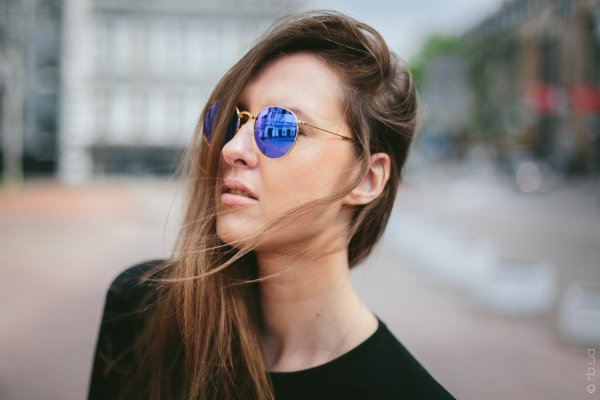 Ray-Ban Round Metal Flash Lenses RB3447 112/4L на людях 11