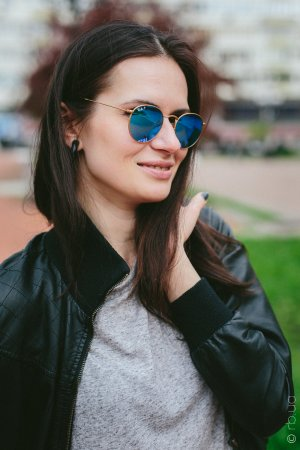 Ray-Ban Round Metal Flash Lenses RB3447 112/4L на людях 1