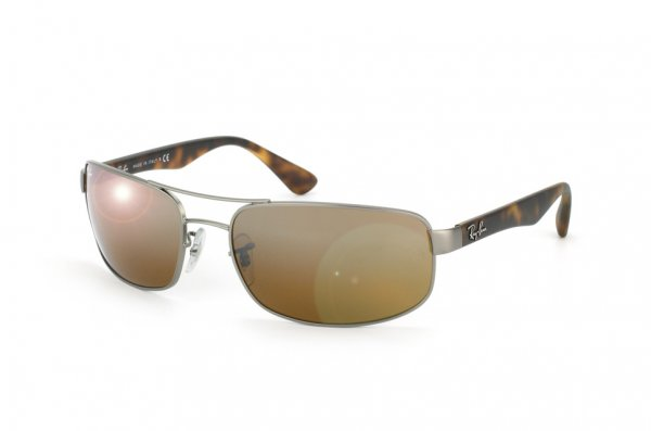 Очки Ray-Ban Active Lifestyle RB3445-029-3K Matte Gunmetal/Brown Rubber Temple | Brown Mirror Silver Faded Gradient