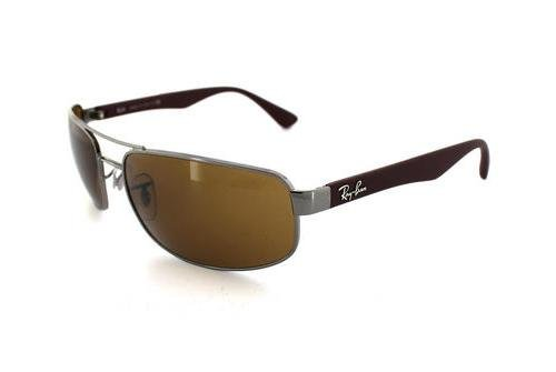 Очки Ray-Ban Active Lifestyle RB3445-106 Gunmetal Red Beet Rubber | Natural Brown (B-15 XLT)