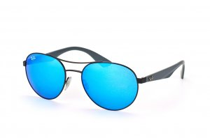 Очки Ray-Ban Active Lifestyle Round RB3536-006-55 Matt Black| APX Light  Blue Mirror