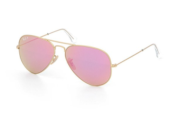 Очки Ray-Ban Aviator Flash Lenses RB3025-112-1Q Matte Gold | Violet/Yellow Mirror Polarized