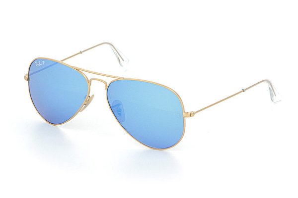 Очки Ray-Ban Aviator Flash Lenses RB3025-112-4L Matte Gold | Green Mirror Blue Polarized