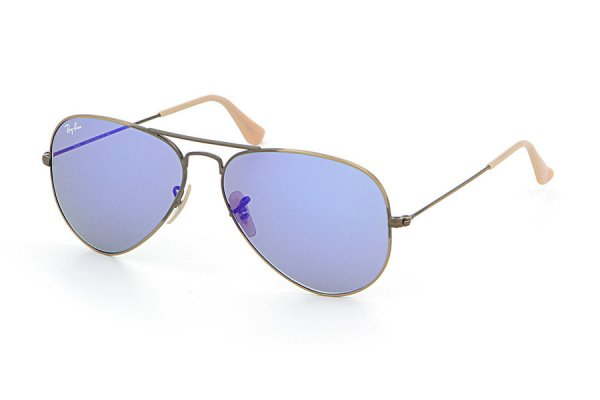 Очки Ray-Ban Aviator Flash Lenses RB3025-167-68 Matte Bronze | Brown Faded Violet/Blue Mirror