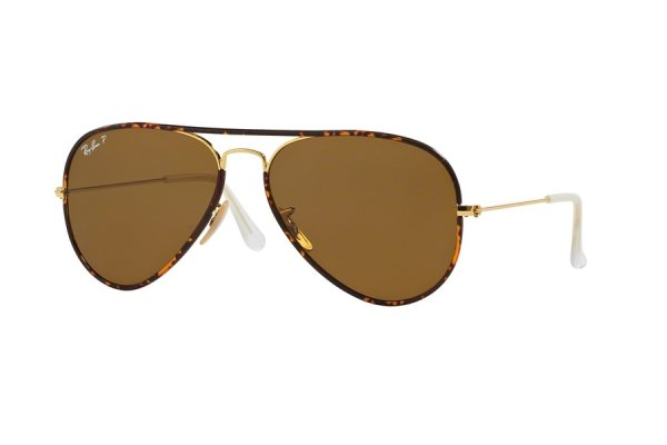 Очки Ray-Ban Aviator Full Color RB3025JM-001-57 Tortoise/Arista | Natural Brown Polarized