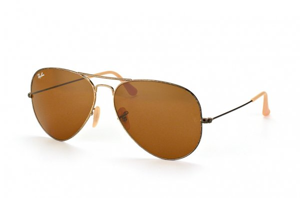 Очки Ray-Ban Aviator Large Metal Distressed RB3025-177-33 Pewter/Natural Brown