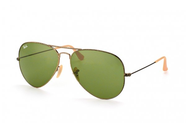 Очки Ray-Ban Aviator Large Metal Distressed RB3025-177-4E Pewter/Natural Green
