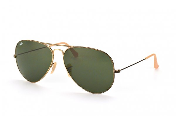 Очки Ray-Ban Aviator Large Metal Distressed RB3025-177 Pewter/Natural Green (G-15XLT)