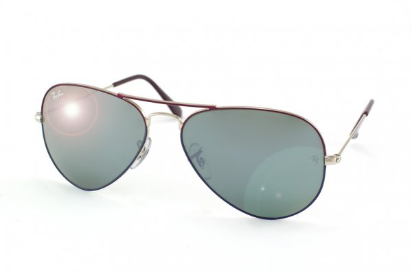 Очки Ray-Ban Aviator Large Metal RB3025-069-40  Silver / Violet / Blue | Mirror (G-31)