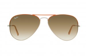 Очки Ray-Ban Aviator Large Metal RB3025-071-51 Silver Bridge and Temple, Orange Frame Top, Beige Frame Bottom/Faded Brown