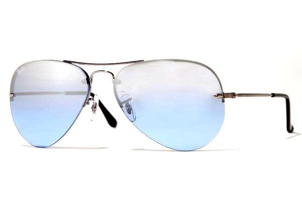 Очки Ray-Ban Aviator Light RB3214-004-7C Gunmetal | Sky Blue Silver Mirror