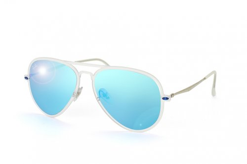 ���� Ray-Ban Aviator LightRay II RB4211-646-55 Matte Transparent | Blue Mirror