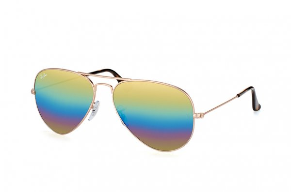 Очки Ray-Ban Aviator Mineral Flash Lenses RB3025-9020-C4 Matte Bronze | Orange Rainbow Mirror