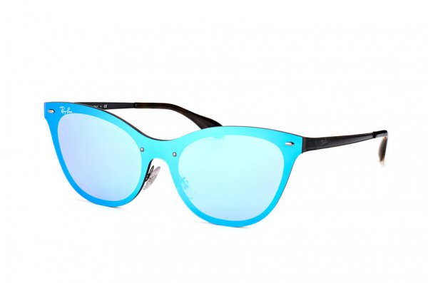 Очки Ray-Ban Blaze Cats RB3580N-153-7V Light Blue / Black | Blue Mirror