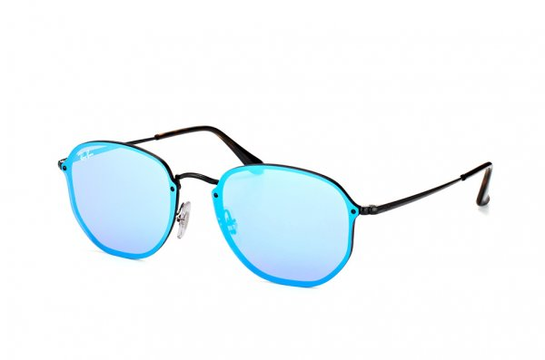 Очки Ray-Ban Blaze Hexagonal RB3579N-153-7V Light Blue / Black | Blue Mirror