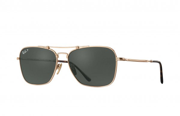 Очки Ray-Ban Caravan Titanium RB8136-9136-58 Antique Gold | Natural Green Polarized