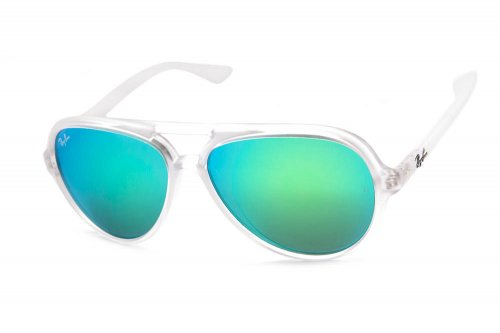 ���� Ray-Ban Cats 5000 RB4125-646-19 Matte Transparent | Green Mirror