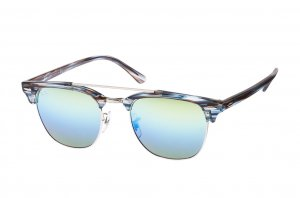 Очки Ray-Ban Clubmaster Double Bridge RB3816-1239-I2 Striped Brown/Blue  | Green Mirror / Gradient Blue