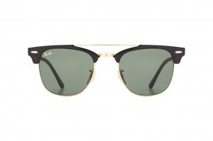 Очки Ray-Ban Clubmaster Double Bridge RB3816-901 Black / Arista  | Natural Green (G-15XLT)