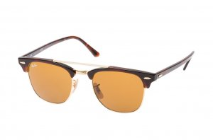 Очки Ray-Ban Clubmaster Double Bridge RB3816-990-33 Arista/Red tortoise | Natural Brown (B-15XLT)