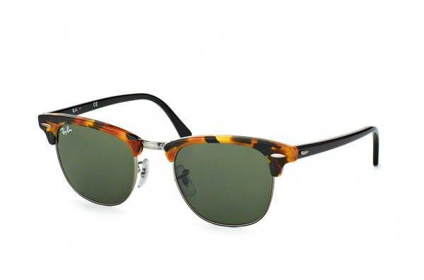 Очки Ray-Ban Clubmaster Fleck RB3016-1157 Silver/Brown/Black | Natural Green(G-15)