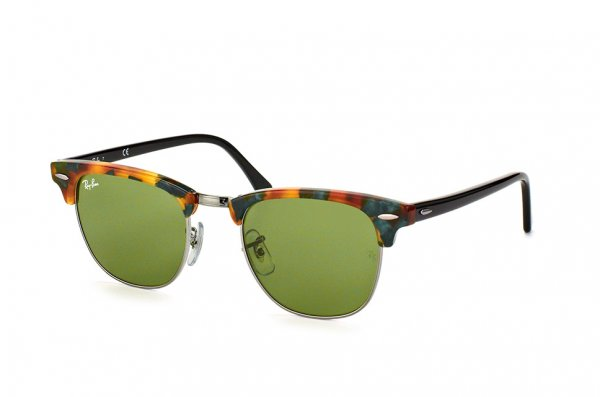 Очки Ray-Ban Clubmaster Fleck RB3016-1159-4E Silver/Brown/Black | Natural Green