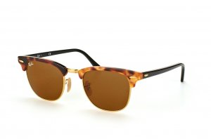 Очки Ray-Ban Clubmaster Fleck RB3016-1160 Silver/Brown/Black | Natural Brown