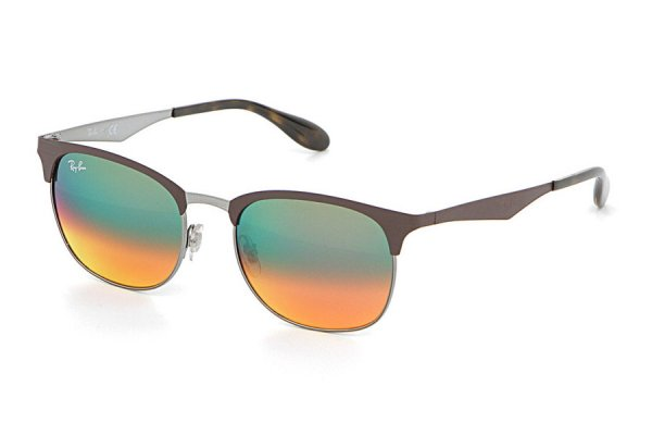 Очки Ray-Ban Clubmaster Metal RB3538-9006-A8 Brown/Silver | Green/Orange Mirror