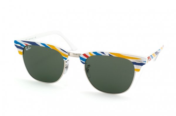 Очки Ray-Ban Clubmaster RB3016-1013 Blue-Red-Yellow-Azure Striped/White/Natural Green (G-15XLT)