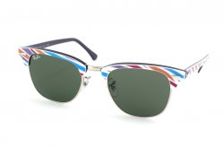 Очки Ray-Ban Clubmaster RB3016-1014 Violet-Fuchsia-Azure-Pink Striped/ Violet | Natural Green (G-15 XLT)