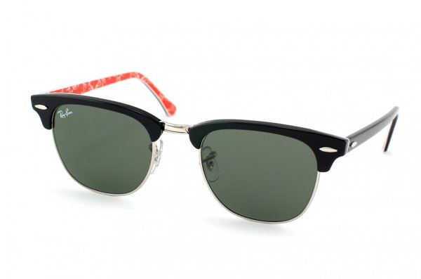 Очки Ray-Ban Clubmaster RB3016-1016 Black/Red Texture/Natural Green (G-15XLT)