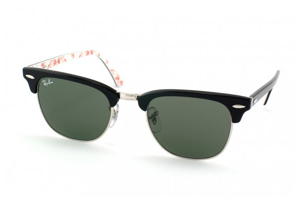 Очки Ray-Ban Clubmaster RB3016-1017 Black On Texture White | Natural Green (G-15XLT)
