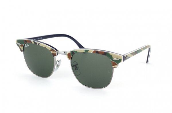 Очки Ray-Ban Clubmaster RB3016-1069 Military Green/Blue | Natural Green (G-15 XLT)
