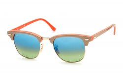 Очки Ray-Ban Clubmaster RB3016-1101-16 Brown, Orange/Green, Azure Mirror