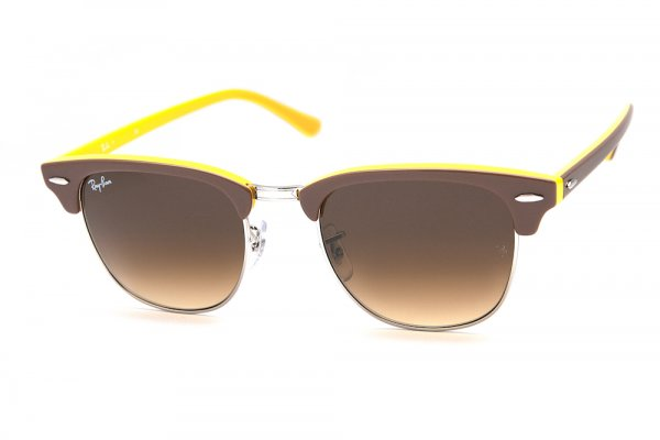Очки Ray-Ban Clubmaster RB3016-1104-85 Brown/Gunmetal On Yellow | Brown Faded Yellow
