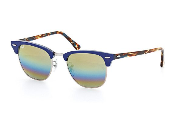 Очки Ray-Ban Clubmaster RB3016-1223-C4 Blue/Silver | Orange Rainbow Mirror