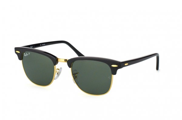 Очки Ray-Ban Clubmaster RB3016-901-58 Black/Arista | Polarized Natural Green
