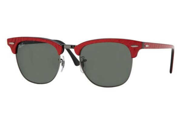 Очки Ray-Ban Clubmaster RB3016-985 Red Marble/Black | Natural Green (G-15XLT)