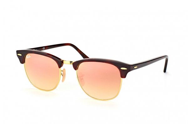 Очки Ray-Ban Clubmaster RB3016-990-7O Arista/Red tortoise | Mirror Faded Brown