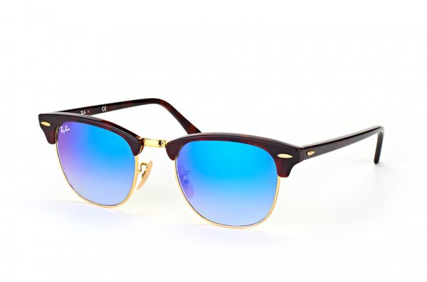 Очки Ray-Ban Clubmaster RB3016-990-7Q Arista/Red tortoise | Faded Blue