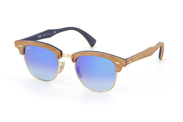 Очки Ray-Ban Clubmaster Wood RB3016M-1180-7Q Light Brown Wood/Arista/Brown |  Faded Blue