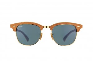 Очки Ray-Ban Clubmaster Wood RB3016M-1180-R5 Light Brown Wood/Arista/Brown | Dark Blue