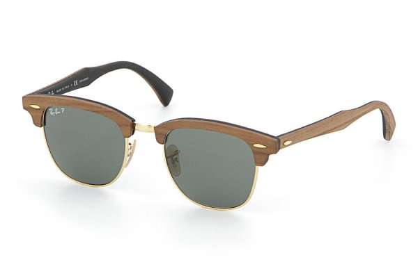 Очки Ray-Ban Clubmaster Wood RB3016M-1181-58 Brown Wood/Arista/Black| Natural Green Polarized