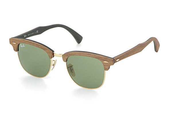 Очки Ray-Ban Clubmaster Wood RB3016M-1182-4E Brown Wood/Arista/Green