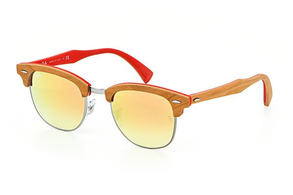 Очки Ray-Ban Clubmaster Wood RB3016M-1219-7O Light Brown Wood / Silver / Red |  Mirror Faded Brown