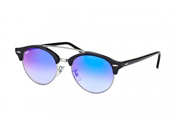 Очки Ray-Ban Clubround Double Bridge RB4346-6250-7Q Black/Silver | Faded Blue